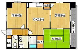 鶴見緑地ハイツ弐番館[7階]の間取り