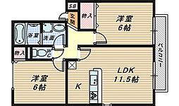 セジュール清和 B棟[2階]の間取り