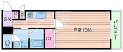 阪急箕面線 牧落駅 徒歩3分の賃貸アパート 2階1Kの間取り