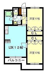 ビュークレスト大野城中央[3階]の間取り