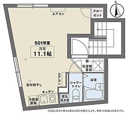 京王井の頭線 下北沢駅 徒歩10分の賃貸マンション 5階ワンルームの間取り