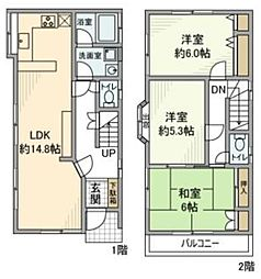 六月2丁目戸建 1階3LDKの間取り