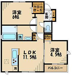 (仮称)矢崎町計画 1階2LDKの間取り