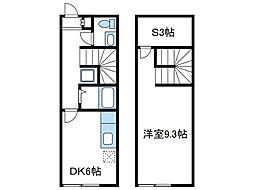 神奈川県厚木市寿町2丁目の賃貸アパートの間取り