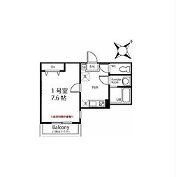 JR南武線 武蔵中原駅 徒歩9分の賃貸アパート 2階1Kの間取り