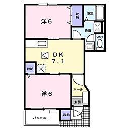 東京都小平市花小金井8丁目の賃貸アパートの間取り