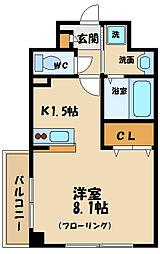 西武多摩川線 多磨駅 徒歩2分の賃貸マンション 3階1Kの間取り