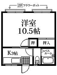 篠栗第一コーポ B[202号室]の間取り