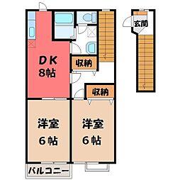 栃木県宇都宮市雀の宮2の賃貸アパートの間取り