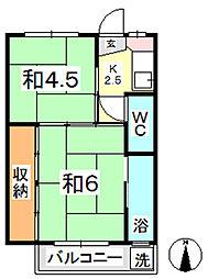 ビレッジハウス上成2号棟[305号室]の間取り