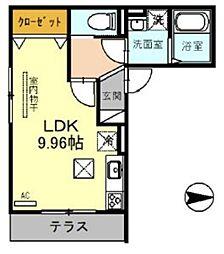JR埼京線 戸田駅 徒歩12分の賃貸アパート 1階ワンルームの間取り
