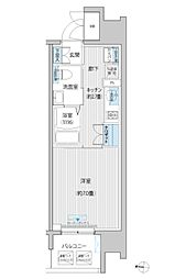 JR南武線 武蔵新城駅 徒歩6分の賃貸マンション 4階1Kの間取り