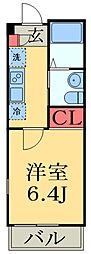 JR総武線 津田沼駅 徒歩7分の賃貸アパート 2階1Kの間取り