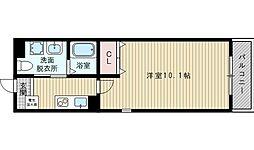 JR東海道・山陽本線 岸辺駅 徒歩8分の賃貸マンション 2階1Kの間取り