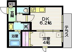 (仮称)川崎市幸区紺屋町メゾンIII 1階1DKの間取り