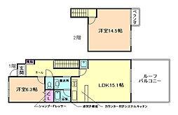 大阪府豊中市上野坂1丁目の賃貸マンションの間取り