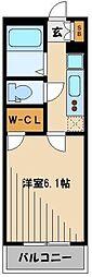 西武新宿線 新狭山駅 徒歩2分の賃貸マンション 4階1Kの間取り