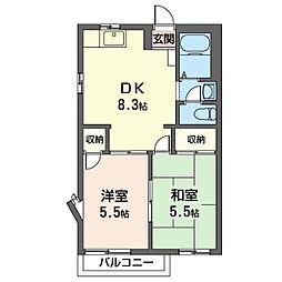 ドミール・アン 2階2DKの間取り
