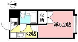 JR南武線 西府駅 徒歩12分の賃貸マンション 2階1Kの間取り