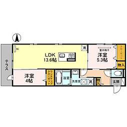 南海高野線 萩原天神駅 徒歩15分の賃貸アパート 1階2LDKの間取り