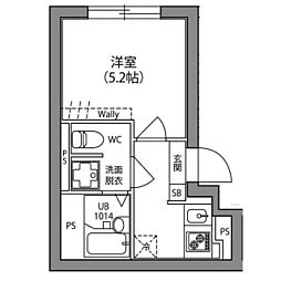 Hi−Five阿佐ヶ谷 5階1Kの間取り