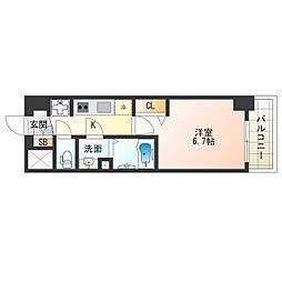 阪神なんば線 九条駅 徒歩4分の賃貸マンション 7階1Kの間取り
