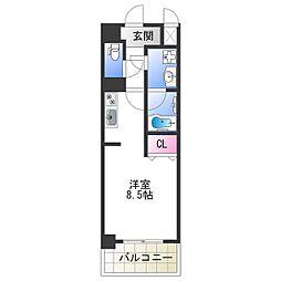 Osaka Metro千日前線 今里駅 徒歩5分の賃貸マンション 8階ワンルームの間取り