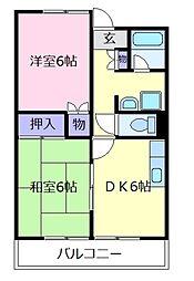 大阪府松原市河合2の賃貸マンションの間取り