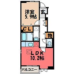 栃木県栃木市都賀町家中の賃貸アパートの間取り