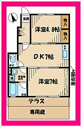 京王線 飛田給駅 徒歩7分の賃貸アパート 1階1LDKの間取り
