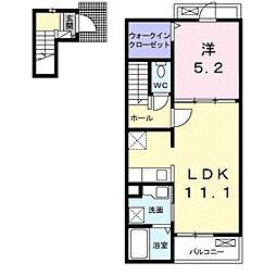 JR東海道本線 豊橋駅 バス16分 佐藤西下車 徒歩3分の賃貸アパート 2階1LDKの間取り