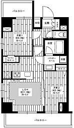 ステージグランデ秋葉原 12階2LDKの間取り