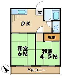 東京都多摩市永山1の賃貸アパートの間取り