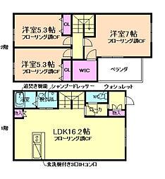 [テラスハウス] 大阪府豊中市小曽根3丁目 の賃貸【/】の間取り