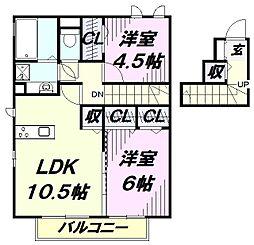 埼玉県入間市大字狭山台の賃貸アパートの間取り