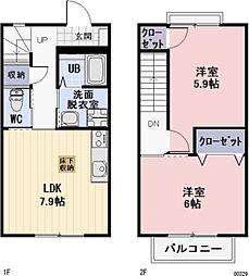 愛知県一宮市多加木4丁目の賃貸アパートの間取り