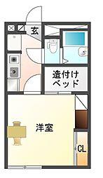 愛知県豊川市新豊町1丁目の賃貸アパートの間取り