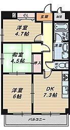 大阪府堺市堺区大町西3丁の賃貸マンションの間取り