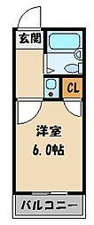 JR東北本線 大宮駅 徒歩20分の賃貸アパート 1階1Kの間取り