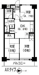 きんえいマンション[6階]の間取り