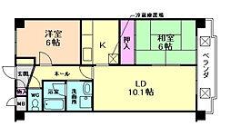 兵庫県川西市萩原3丁目の賃貸マンションの間取り
