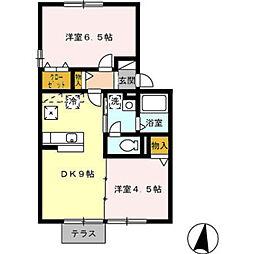 愛知県みよし市三好町平池の賃貸アパートの間取り