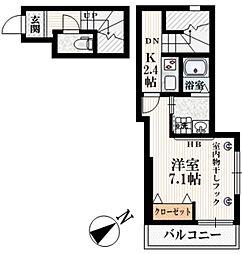 西武新宿線 都立家政駅 徒歩5分の賃貸マンション 3階1Kの間取り