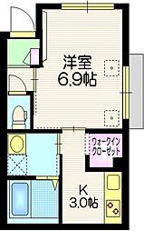 日暮里舎人ライナー 西新井大師西駅 徒歩9分の賃貸マンション 1階1Kの間取り
