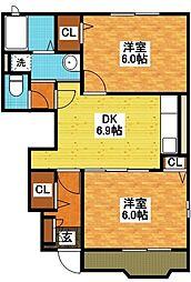 長崎県長崎市岩屋町の賃貸アパートの間取り