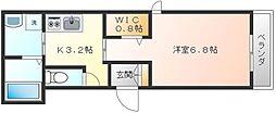 JR京浜東北・根岸線 川崎駅 徒歩18分の賃貸マンション 2階1Kの間取り