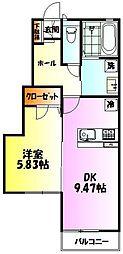 埼玉県坂戸市中富町の賃貸アパートの間取り