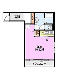 クレアーレ浜浦 2階ワンルームの間取り