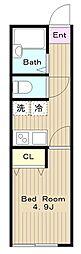 京王相模原線 稲城駅 徒歩7分の賃貸アパート 2階1Kの間取り