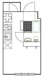 たすきCRASSO中目黒 2階ワンルームの間取り